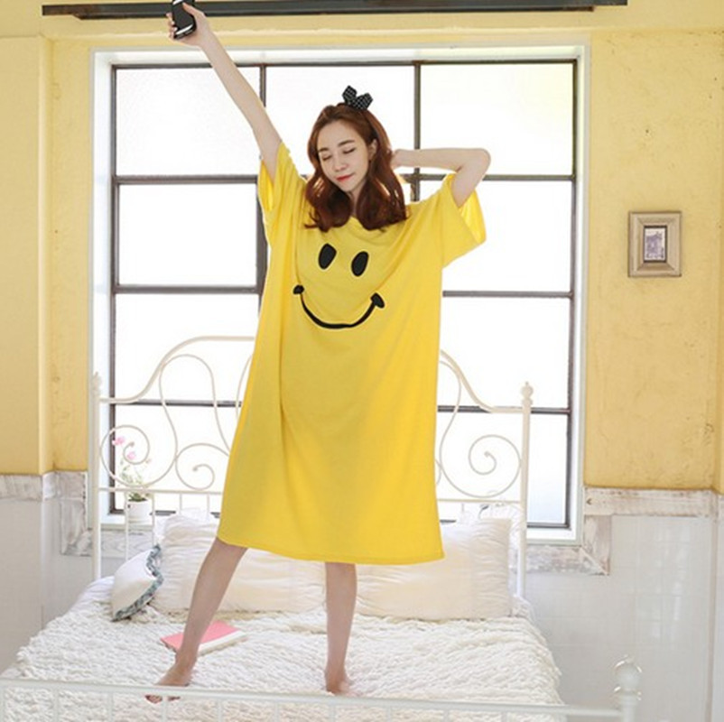 Plus Size Loose Sleep Dress Soft Summer Cotton Nightgowns Cute Half Sleeves Nightgowns Comfortable Sleepwear Women Home AD275