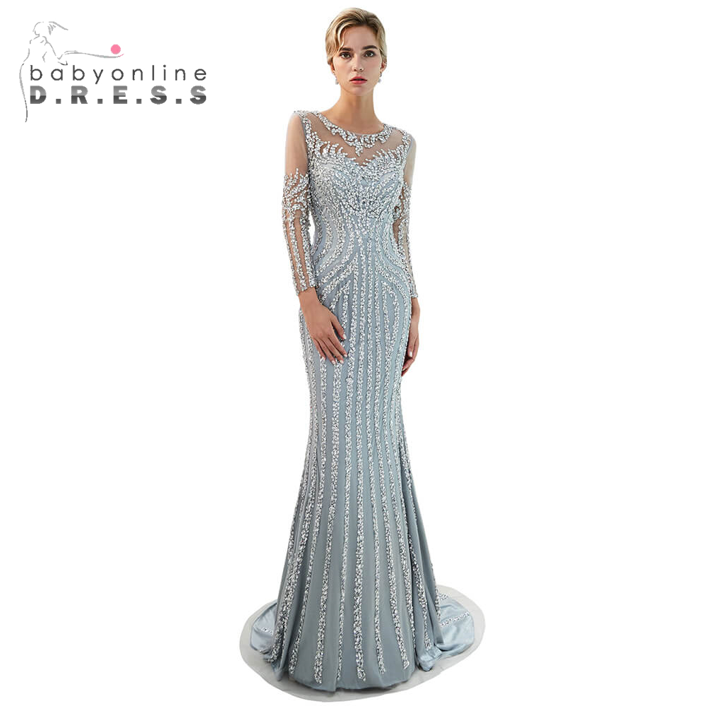 Elegant Gray Beading Crystal   Prom     Dresses   Sexy Cut-out Back   Prom   Gowns Custom Make Long Sleeve Floor-Length Formal Party   Dress