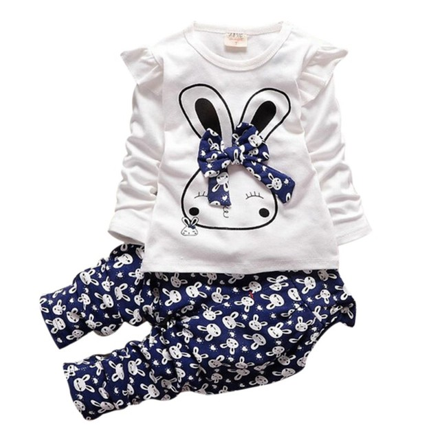 New Hot Autumn Children's Clothing Set Cute Kids Girls Long Sleeve Carton Printed Rabbit Tops T-shirts+Trousers Pants Outfits
