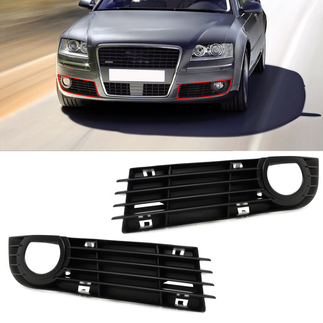 DWCX 4E0807681AD01C 4E0807682AD01C 1 Pair Front Insert Bumper Fog Light Grille Protective Mesh for Audi A8 S8 2006 2007 2008 one pair protective front left right bumper fog light lamp grille covers for a udi a8 s8 q uattro d3 2006 2007 2008