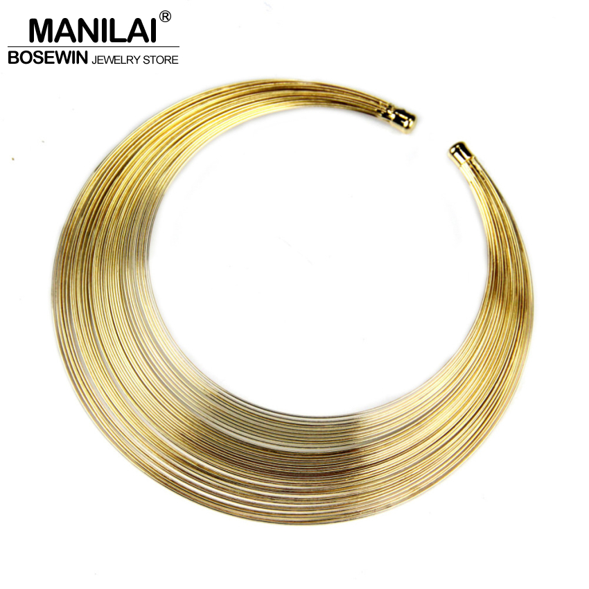 MANILAI Fashion Multilayer Metal Wire Neck Fit Torques Statement ...