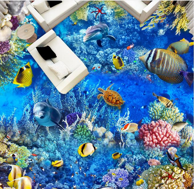 ФОТО custom 3d flooring 3d murals wallpaper for living room Dolphin Coral photo wallpaper murals 3d floor tiles kitchen paper roll
