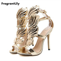 New Star Favorite Luxury Metal Wings Fine With High Heels Sexy Fashion High Quality Sandals Shoes