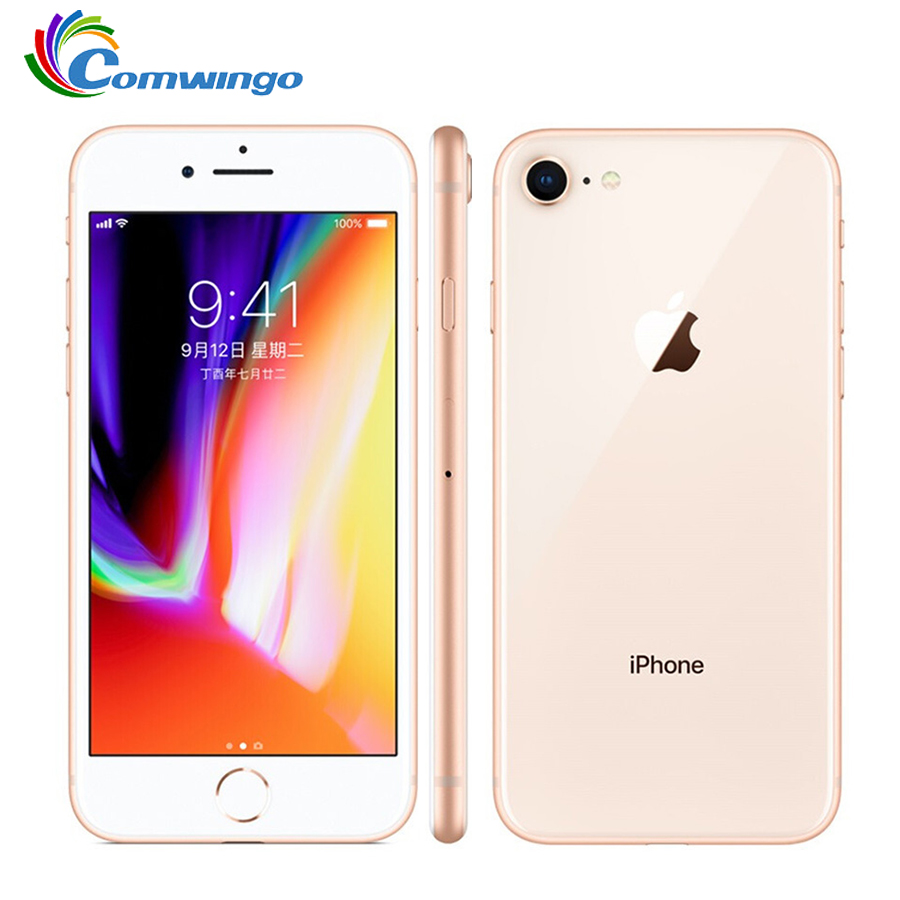 Original apple iphone 8 hexa núcleo ram 2 gb rom 64 gb 4.7 polegada 12mp desbloqueado 1821 mah ios 11 lte impressão digital telefone móvel iphone 8