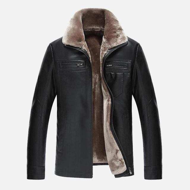 NEW  Mens Winter Leather Jackets top quality Fleece Fur Collar  Motorcycle Jacket black Mens Jackets And Coats
