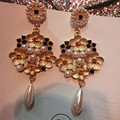 Free shipping Bohemia baroque crystal cross earrings long design big Luxury pearl flower earring fashion accessories for women