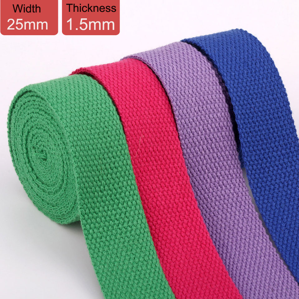 25mm 50 Yards Polyester Cotton Canvas Webbing Backpack Handle Belt 1.5mm Thickness Bias Tape Bag Strap Sewing Ribbon 19 Colors