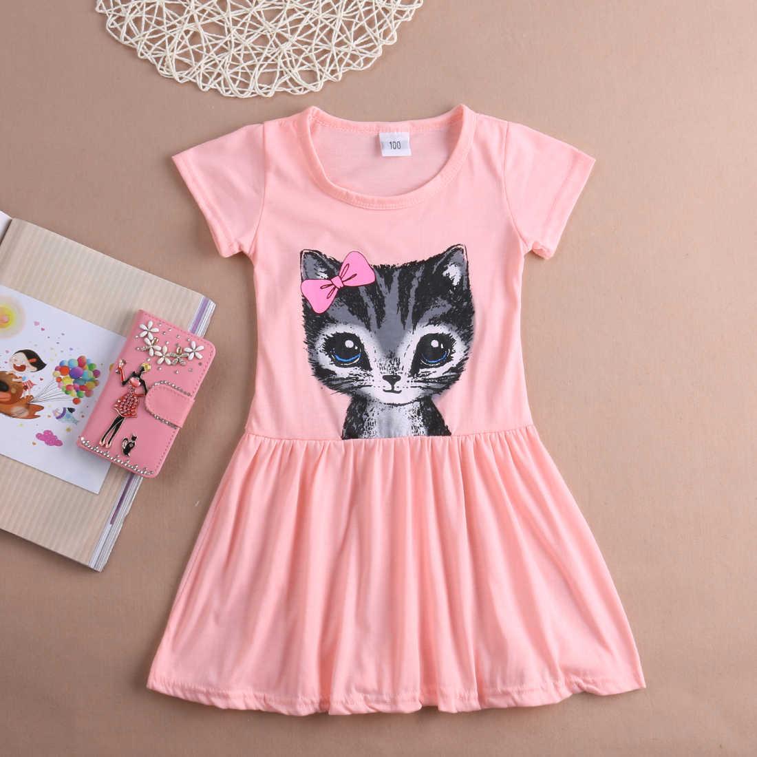 47340fa5 2016 Pink/Grey Baby Kids Girls Cute Cat Kitten Summer Short Sleeve Toddler  Princess Dress Party Tulle Tutu Dress 1-8Y