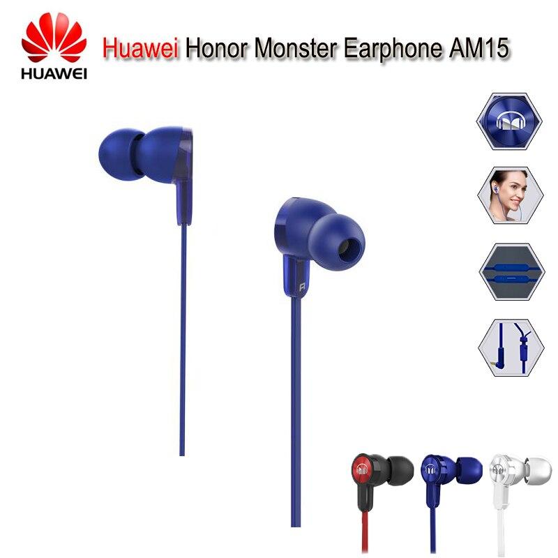 100% Original Huawei Honor écouteur AM15 avec micro ligne de Piston contrôle intra-auriculaire pour Huawei Honor 9 Mate 8/9 P10