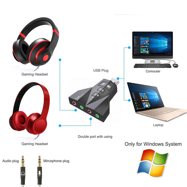 Ingelon USB Sound Adapter External Stereo Sound Adapter Virtual 7.1 Channel Double Microphone/Headset Port Plug and Play Gadgets 3