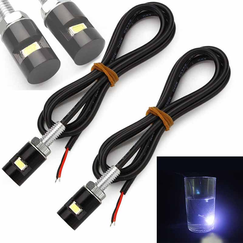 New Arrival 2pcs 12V Universal Motorcycle LED License Plate Light Waterproof Tail Front Screw Bolt White Lamp