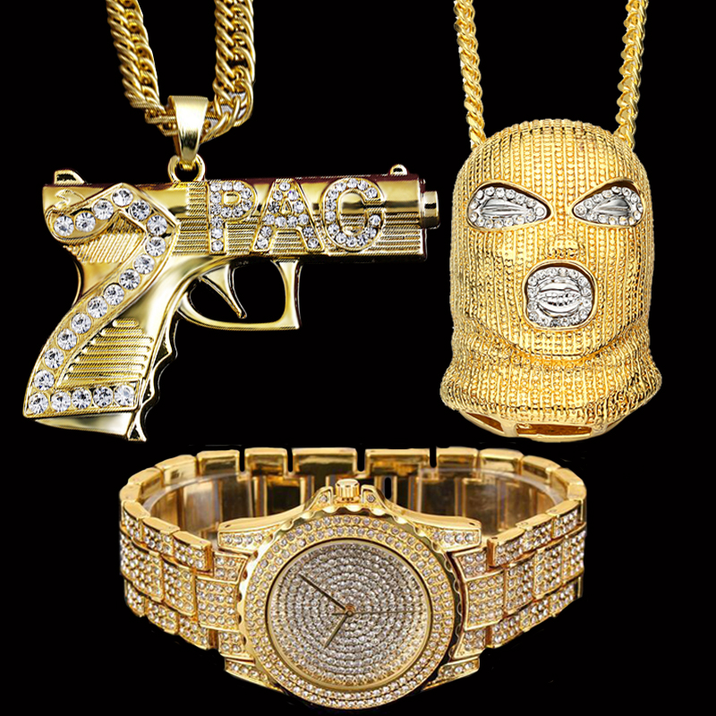 Hip Hop Iced Out Goon / AK47 Pendants Necklace & Lab CZ Crystal Watch Combo Set
