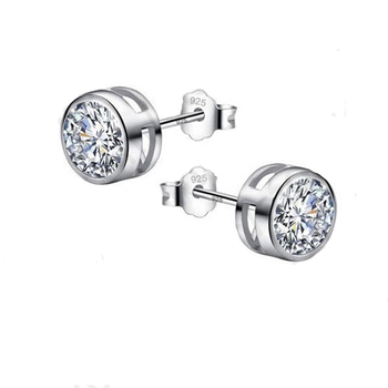 Big Sale 925 Sterling Silver 6MM Stud Earrings For Women Cubic Zirconia Jewelry Gifts For  Baby/Girls/Students