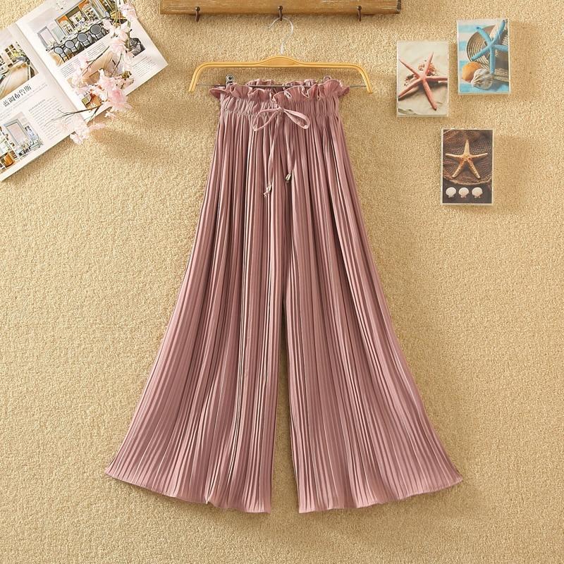 Ruffle Trousers for Women High Waist Wide Leg Chiffon Loose Pants Female Casual Large Sizes Clothes Korean Autumn 2