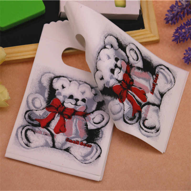 2016 New Design Wholesale 50pcs/lot 9*15cm High Quality White Lovely Bear Small Present Packaging Bags Plastic Gift Bags