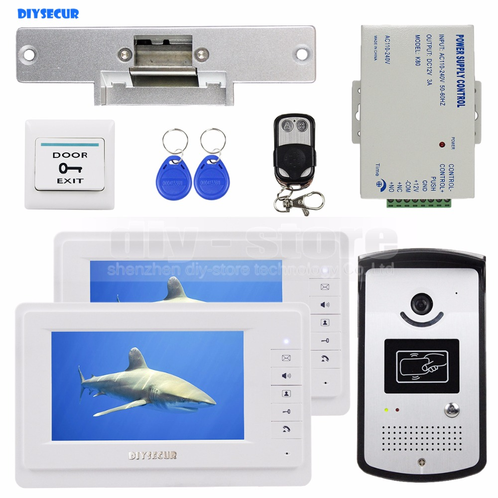 DIYSECUR 7 inch Video Door Phone Video Intercom Kit 1V2 + Strike Lock + Remote Control + Exit Button + Keyfobs + PSU