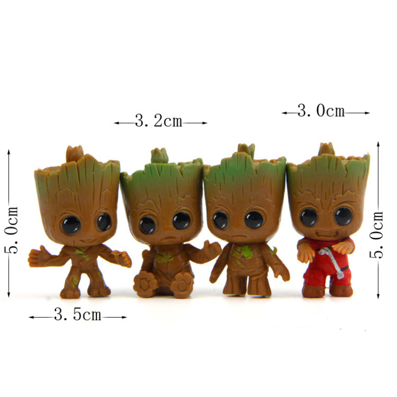 4pcs/set Movie Guardians Of The Galaxy 2 Brinquedos Mini Cute Baby Tree Man Dancing Model Action Toy Figure Car Ornaments Gift