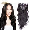 Americano Real Remy grampo em extensões de cabelo humano 200 g malásia corpo onda grampo em extensões do cabelo ondulado cabelo Clip Ins 1b preto