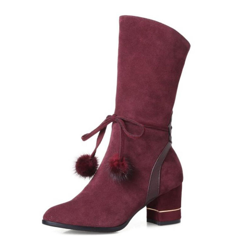 Calzado Negro Media Pantorrilla Calza Zapatos Moda Tamaño Bowtie Vulusvalas gris Botas Mujeres Mujer Cuero 43 De rojo Genuino Caliente 33 Invierno Tacones TAqxzAHv