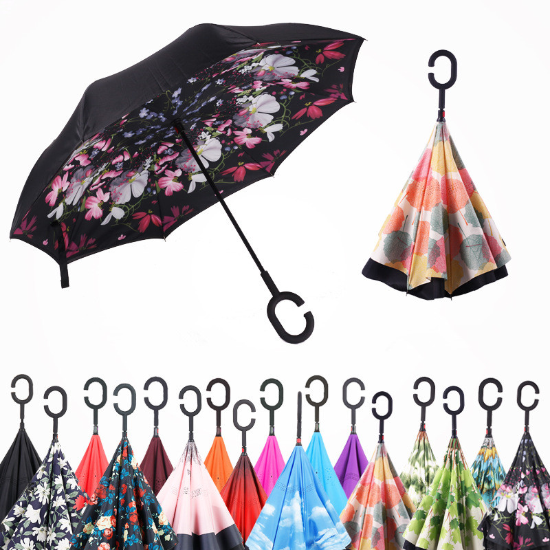 New Design Double Layer Inverted Umbrella Self Stand Umbrella Rain Reverse Car Umbrellas Drop Shipping