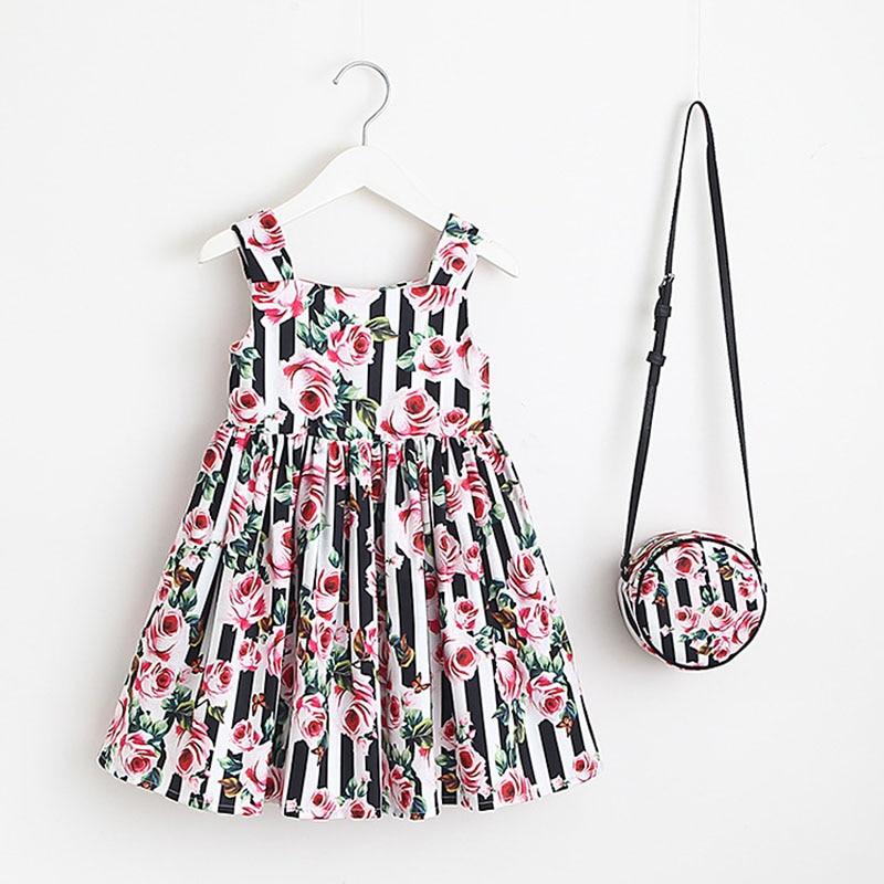 Baby Gril Princess Dress 2018 Summer Suspender Dress+Bags 2pcs Set Girls Cotton Dress Fashion Pastoral Style children clothing