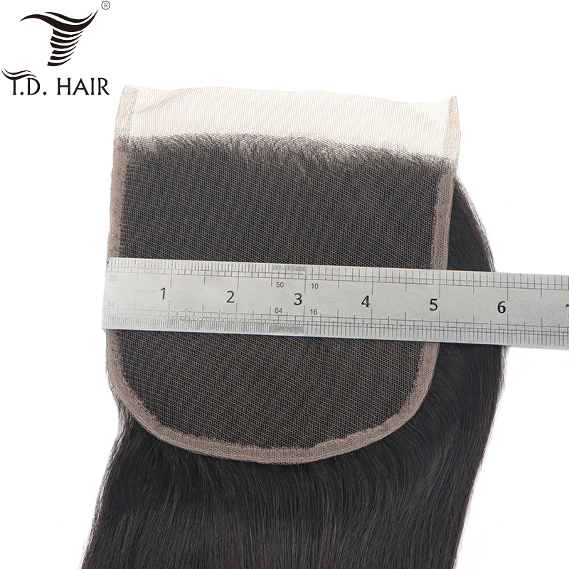 Tdhair Peruvian Free Part 5x5 Straight Lace Closure For Black Women 8-20 Inch Human Hair Swiss Lace Closure Remy Hair