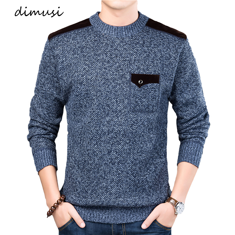 DIMUSI Men's Sweater Pullovers Turtleneck Slim-Fit Knitted Autumn Winter Brand Casual