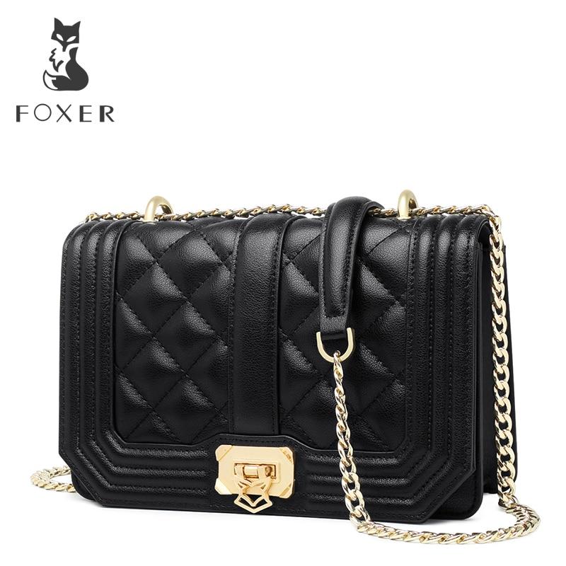 FOXER Brand Women Split Leather Flap Lady Diamond Lattice Soft Crossbady Bag Female Graceful Fashion-Forward Shoulder Bag swarovski graceful lady 5295386