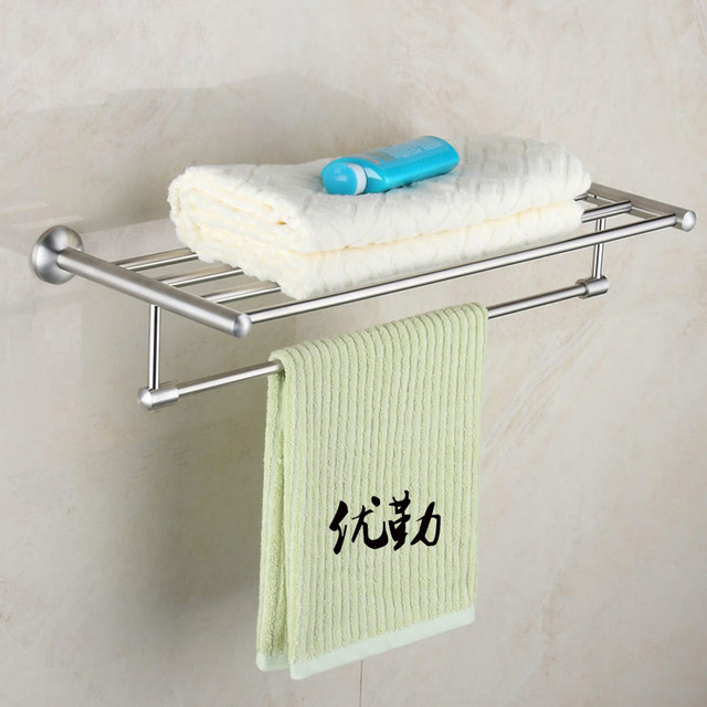Wall Mount Stainless Steel Nickel Brushed Bathroom Bath Towel Shelf Double Rack Bar