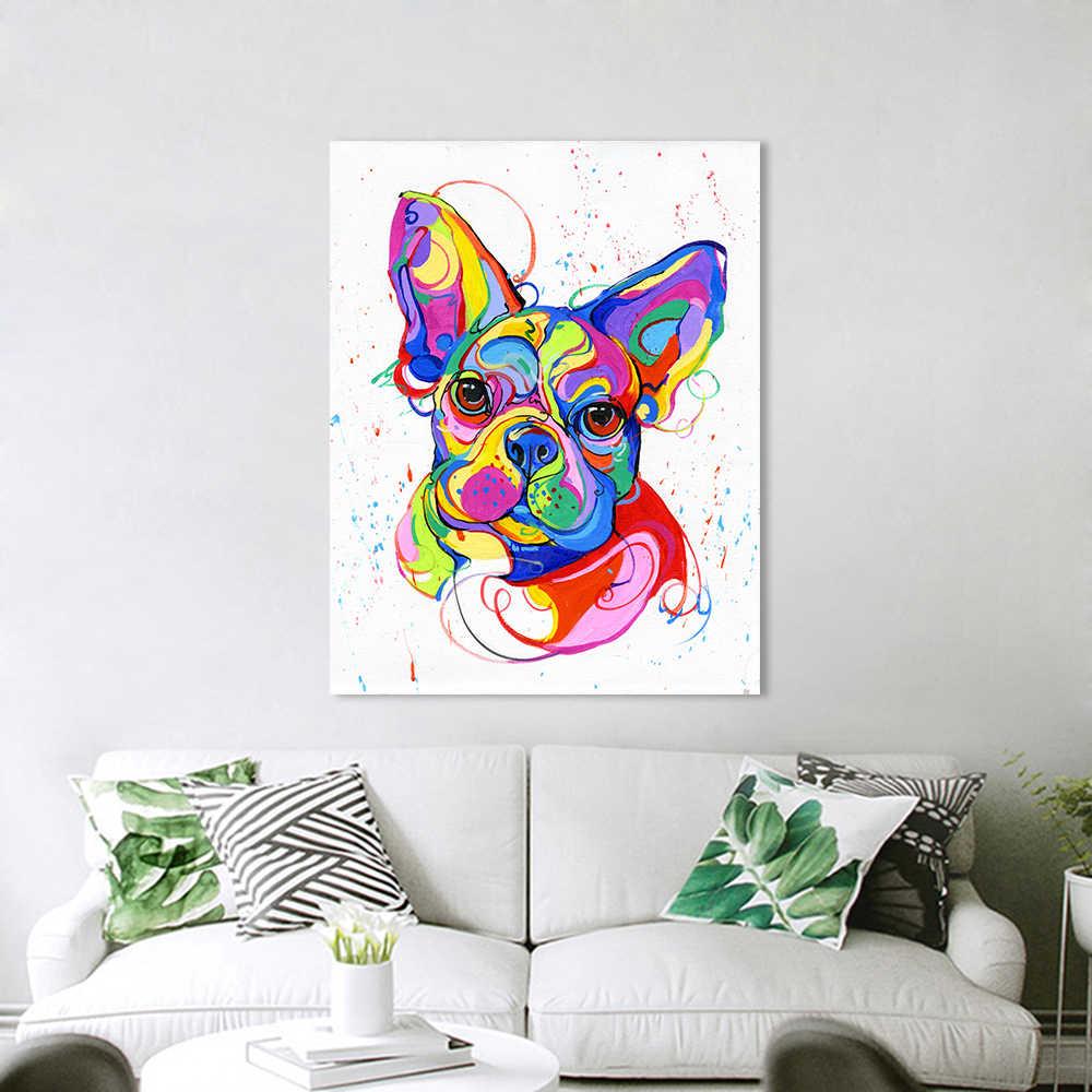 HDARTISAN pared arte lienzo pintura Bulldog francés colorido Animal imagen Impresión de aceite para sala de estar decoración del hogar sin marco