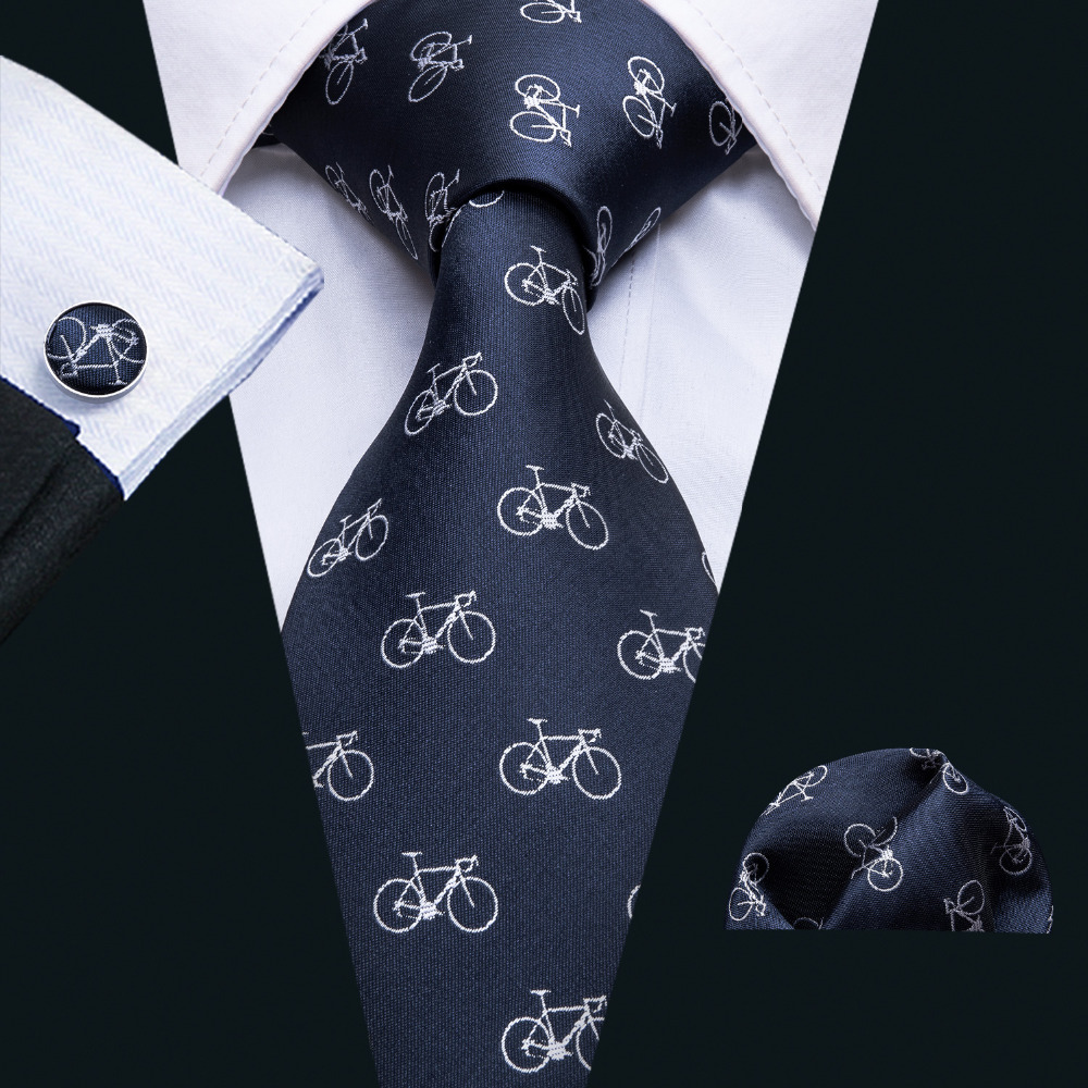 Men Ties Designer Fashion Bicycle Pattern Neck Tie Wedding Business 8.5CM Silk Necktie Jacquard Woven Tie For Men Cravat FA-5066