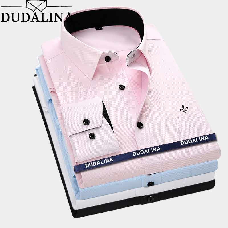Dudalina Men Long Sleeved Shirt Slim Fit Style Design Solid Color Business Casual Dress Shirt Male Social Brand Men Clothing