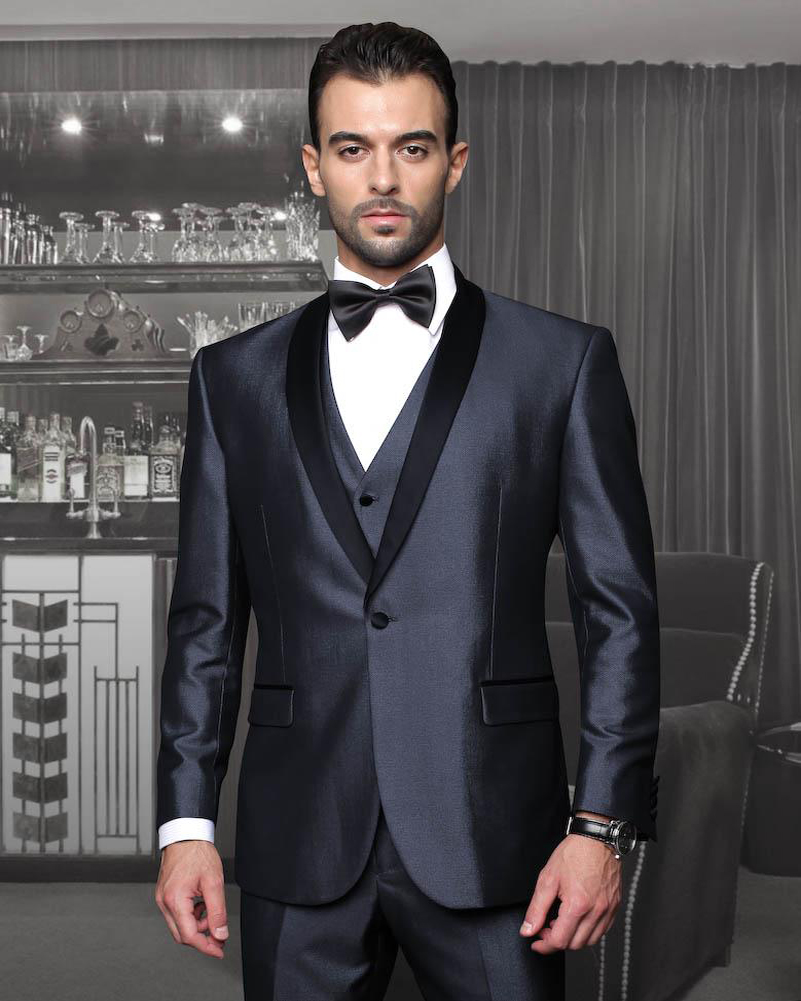 2017 Latest Coat Pant Designs Grey Satin Groom Suit for Men Formal Shawl  Lapel Blazer Custom Wedding Party Tuxedo 3 Pieces Terno e9070d556e84