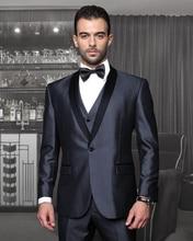 2017 Latest Coat Pant Designs Grey Satin Groom Suit for Men Formal Shawl Lapel Blazer Custom Wedding Party Tuxedo 3 Pieces Terno
