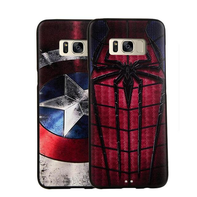 size 40 8d01e a5e8a US $4.09 18% OFF|For Samsung S8 S8Plus case Marvel Spiderman Batman Captain  America Luxury Soft Silicon 3D Stereo Relief Painting Cases Cover-in ...