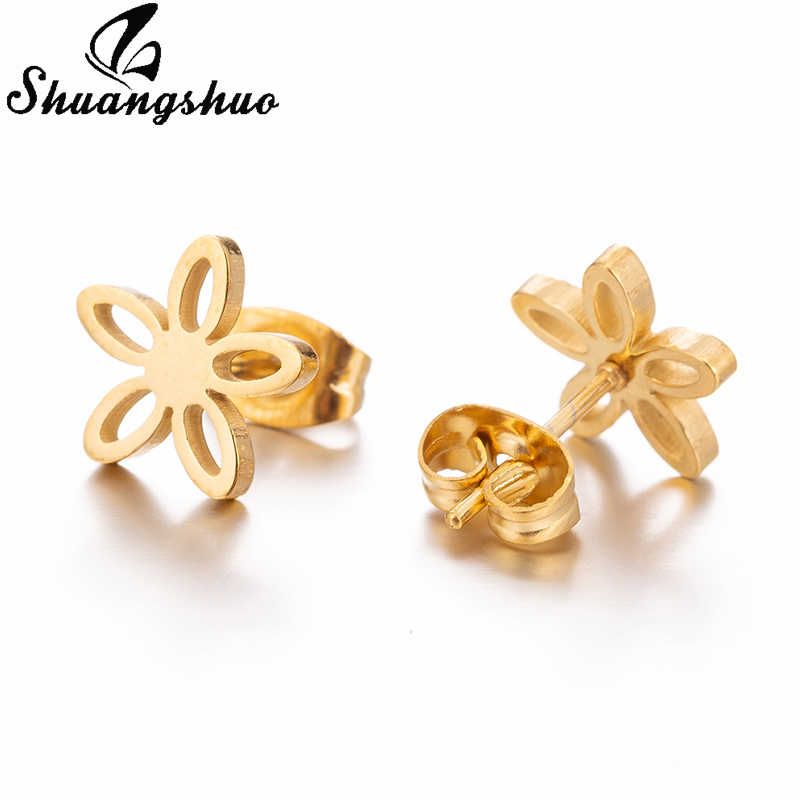 Shuangshuo الصغيرة زهرة الفولاذ المقاوم للصدأ وأقراط للنساء ترصيع القرط خمر الأذن مجوهرات Boucle D'oreille فام