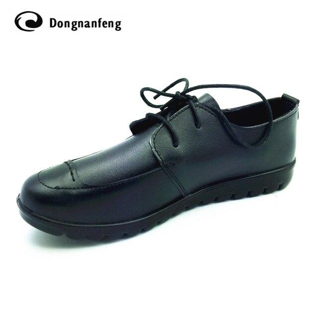 Nueva Suela De Goma de Las Mujeres Zapatos de Mujer de Cuero Genuino Pisos Con Cordones Punta Redonda Suave Ocasional Superstar Mujer Sapatos zapatos DNF-8013