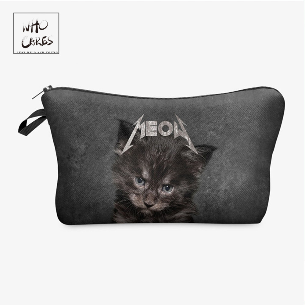 Who Cares Fashion Cosmetic Organizer Bag 3d Meow Cat Printing  Makeup Bags Ladies Pouch Women Cosmetic Bag