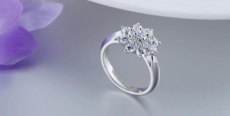 Pure Silver 0.68 Carat Silver High Carbon Diamant Simulation 925 Ring Flowers S925 Ring Bands Fashion Jewelry For Women (JSA)