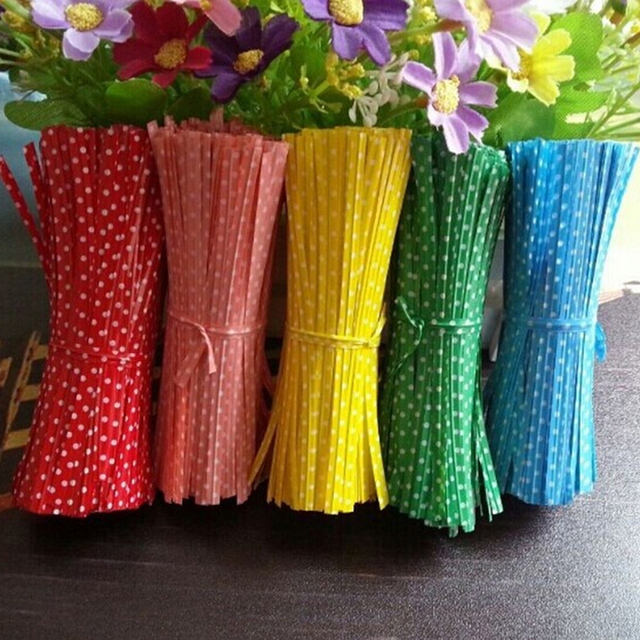 Polka Dot Print Wire Twist Ties Gifts Bags 100 Pcs