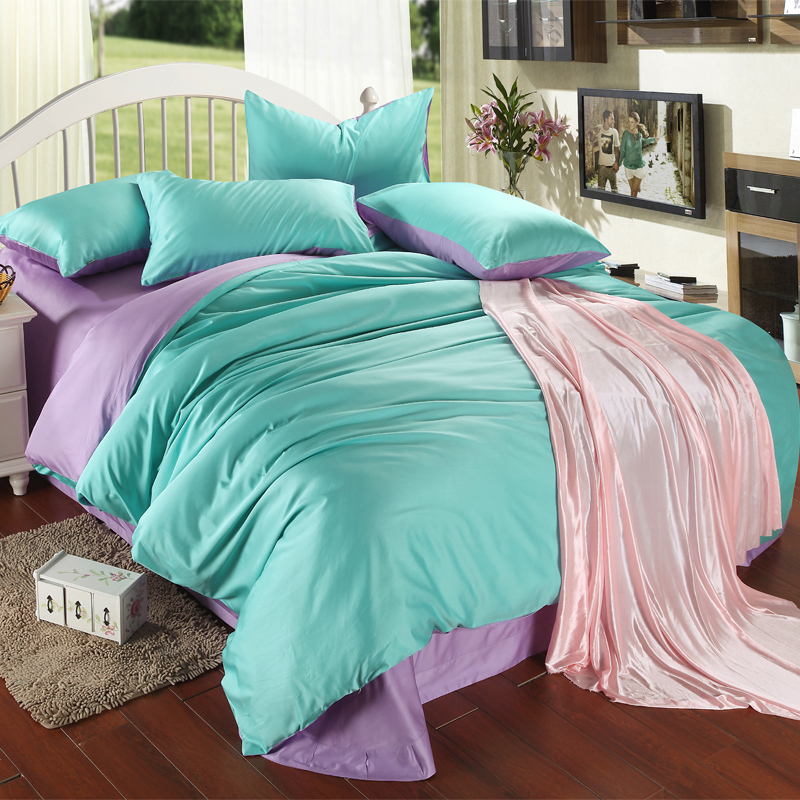 Luxury Purple Turquoise Bedding Set King Size Blue Green Duvet Cover