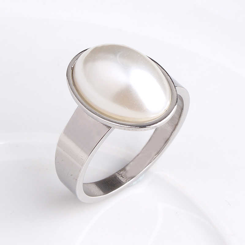 1366e9f5a1891 free shipping Oval imitation pearl 316L Stainless Steel wedding rings for  men women wholesale