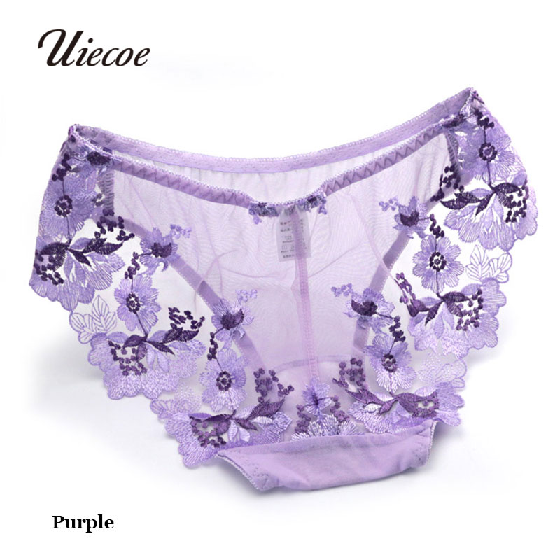 UIECOE Chinese Style Women Sexy Transparent Lace Panties Ultra-thin Gauze Embroidered flowers Underwear Low-waist Women Briefs