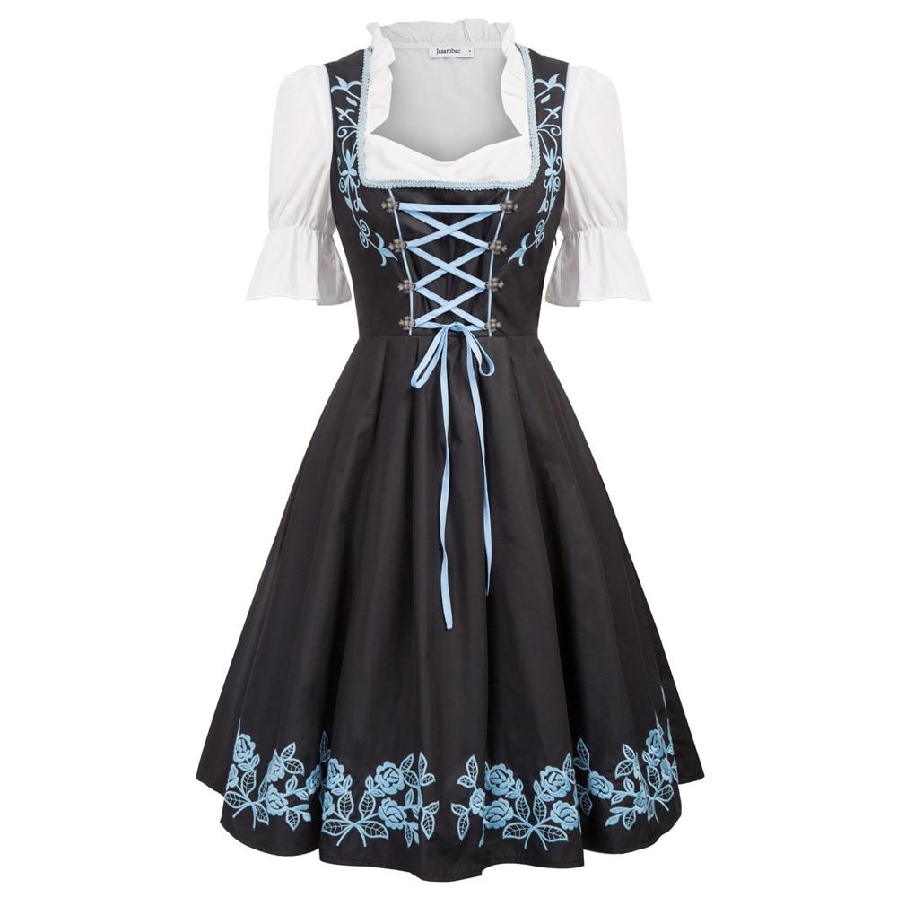 Femmes balançoire robe élégante rétro ceinture à lacets volants été bavarois allemand Oktoberfest Costumes une ligne vintage robe + tablier dame - 2