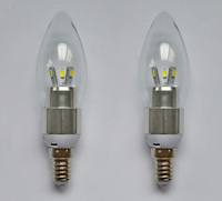 Free Shipping Aluminum Shell Glass Cover E14 LED Candle Light Bulb 3w 5w AC85 265v