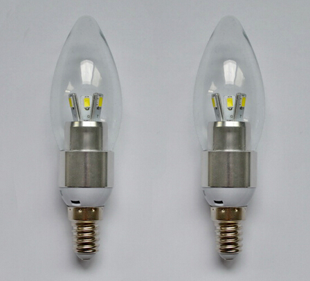 где купить Free Shipping Aluminum Shell+Glass Cover E14 LED Candle Light Bulb 3w 5w AC85~265v 360 Beam Angle  Cool Warm White LED Light дешево
