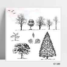 ZhuoAng Beautiful Scenery Tree Cutting Dies Clear Stamps For DIY Scrapbooking/Card Making Decorative Silicon Stamp Crafts