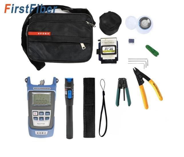 Fiber Optique FTTH Outil Kit FTTH Fiber Optique Outil Kit FC-6S Fendoir De Fiber-70 ~ + 10dBm Optique Puissance mètre 5 km Laser point