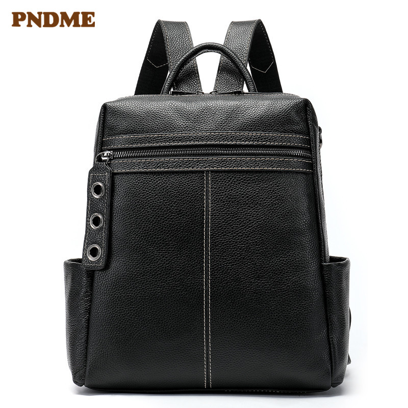 PNDME fashion simple black genuine leather Womens backpack casual personality waterproof large capacity shoulder bagPNDME fashion simple black genuine leather Womens backpack casual personality waterproof large capacity shoulder bag