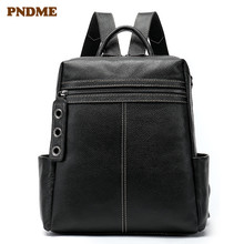 PNDME fashion simple black genuine leather womens backpack casual waterproof large capacity bookbag high quality bagpack